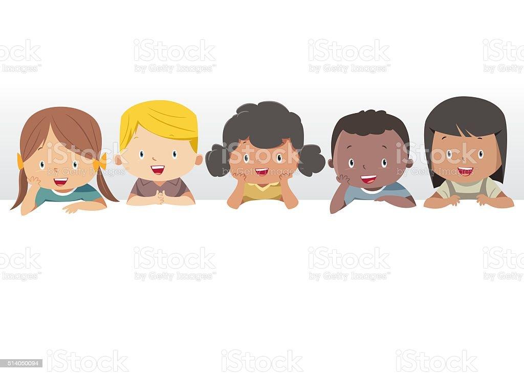 Happy Children, vector art illustration