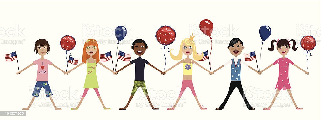 happy children with american flags and balloons royalty-free stock vector art