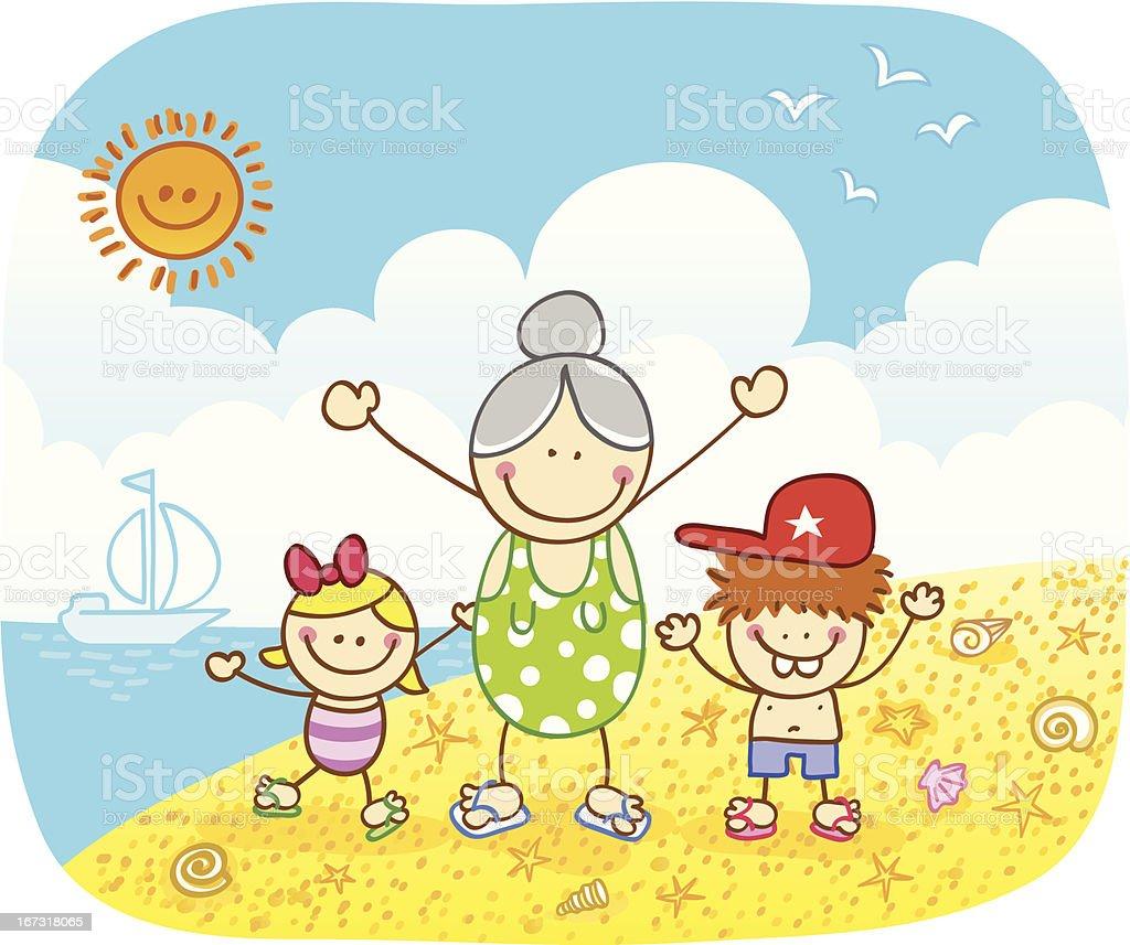 heureux enfants avec grandmère sur la plage en été illustration de