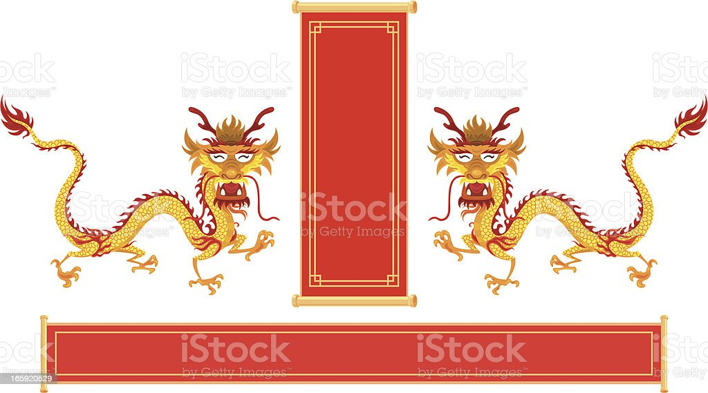 Happy Chinese Dragon with red banner royalty-free stock vector art
