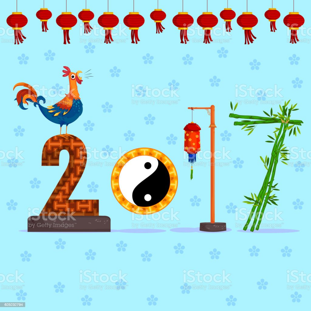 New year 2017 greeting pictures year of rooster happy chinese new year - Happy Chinese New Rooster Year 2017 Greeting Background Royalty Free Stock Vector Art