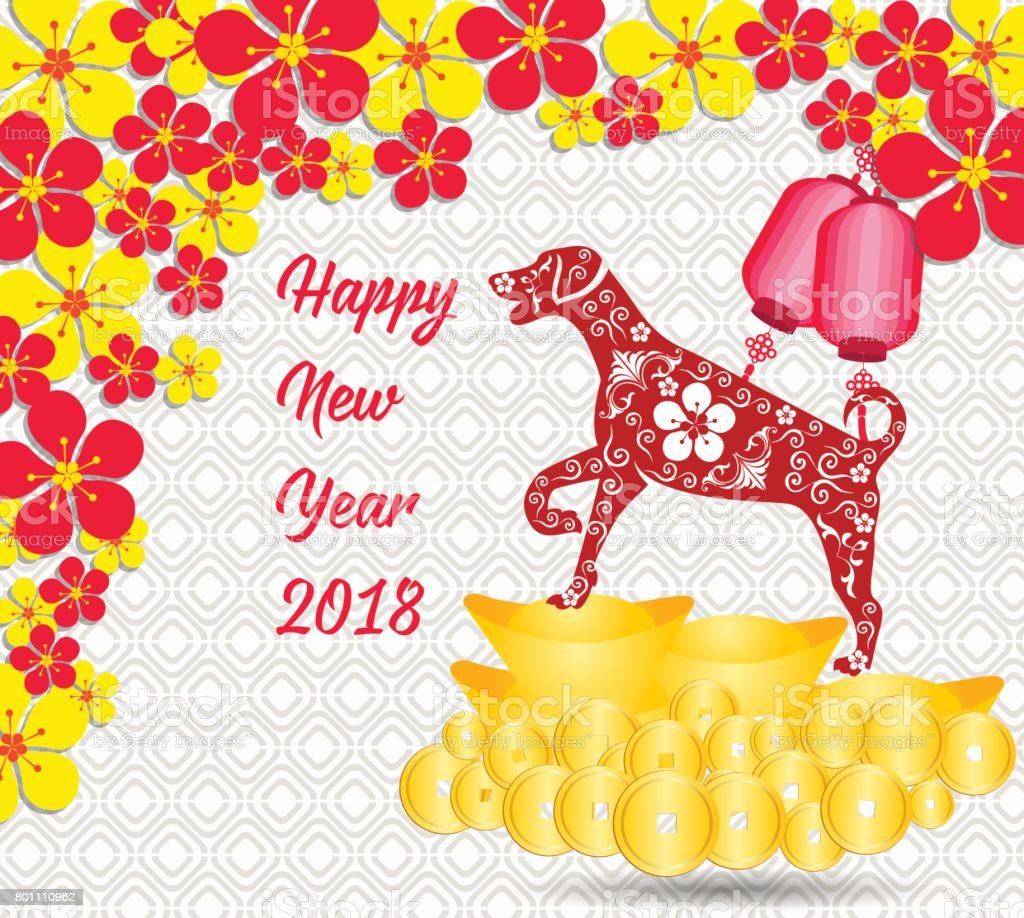 happy chinese new year 2018 card is gold coins money year