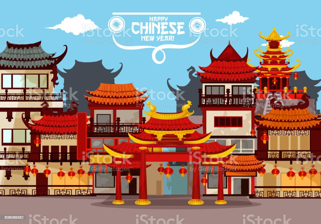 Happy Chinese New Year greeting card design vector art illustration