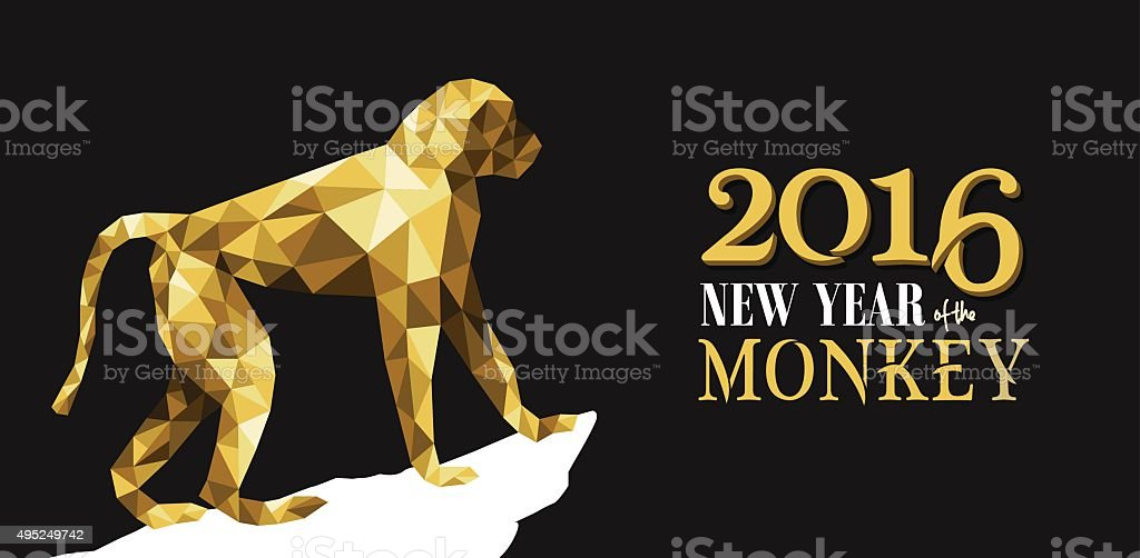 Happy chinese new year monkey gold low poly ape vector art illustration