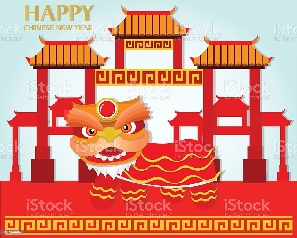 Happy Chinese New Year,Lion Dance on China town background vector art illustration