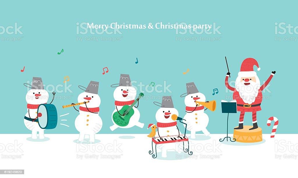 Happy Christmas Party. Santa Claus and Snowman. vector illustration vector art illustration
