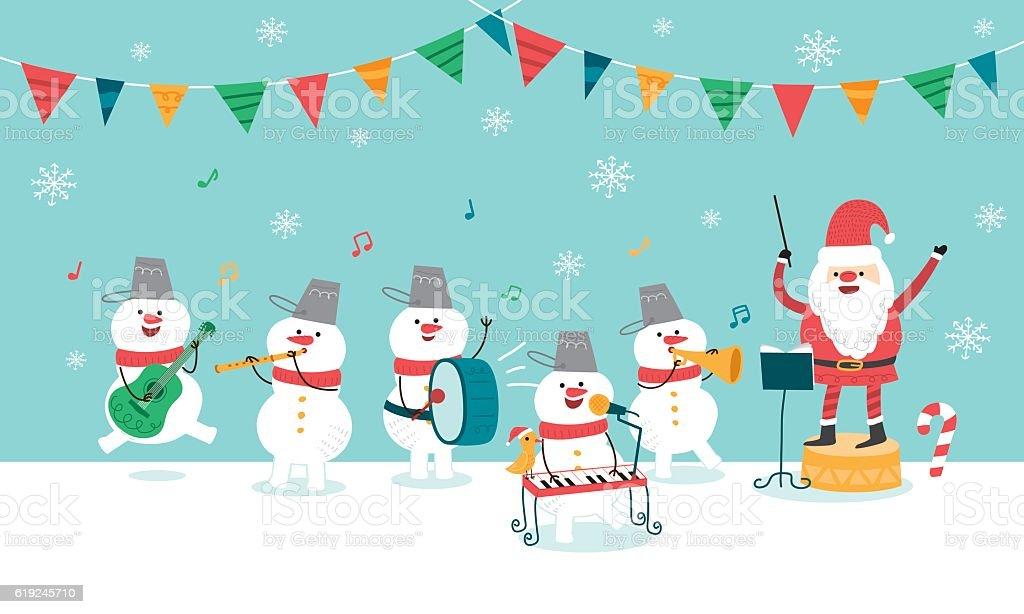 Happy Christmas Party. Santa Claus and Snowman. vector vector art illustration