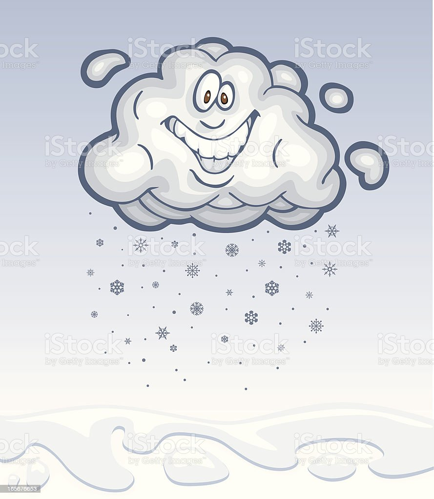 Happy Cloud is Dropping Snowflakes to the Earth royalty-free stock vector art