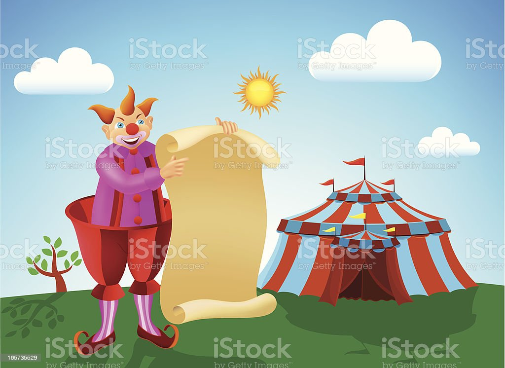 Happy Clown holding a banner royalty-free stock vector art
