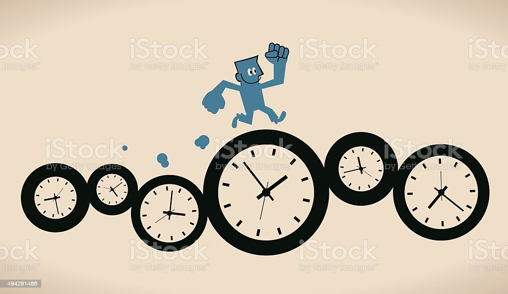 Happy confident smiling businessman running on group of time clocks vector art illustration