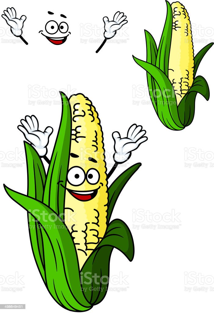 Happy corn on the cob with a big smile royalty-free stock vector art