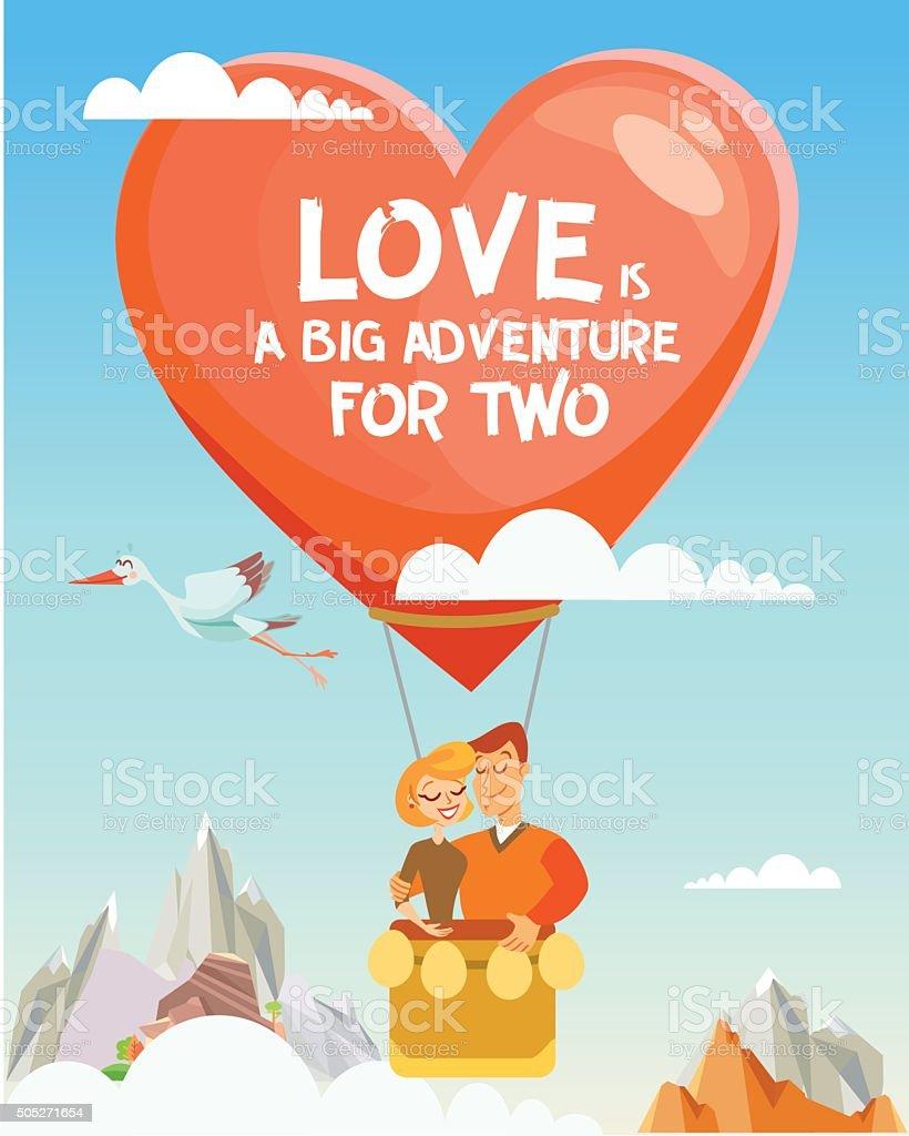 Happy couple flying on balloon in the sky vector art illustration