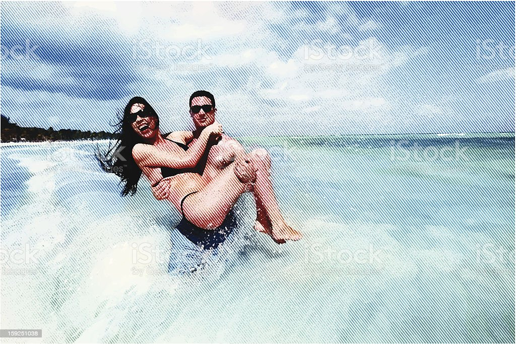 Happy Couple Having Fun At The Beach vector art illustration