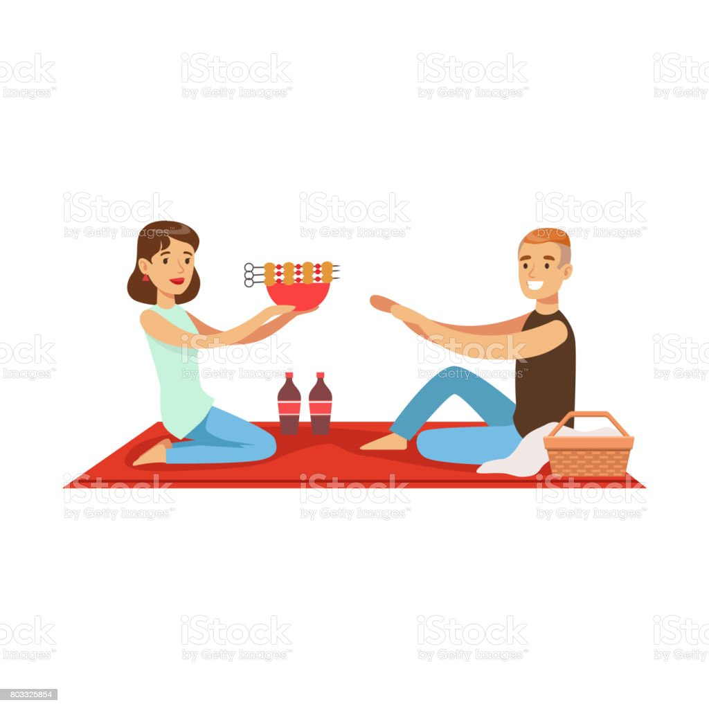 Happy couple having outdoor barbeque picnic, man and woman characters in love sitting on a picnic plaid vector Illustration vector art illustration