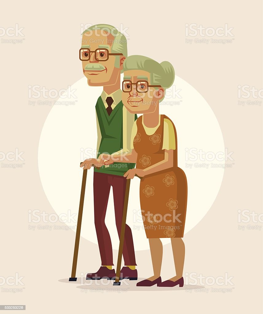 Happy couple of grandparents. Vector flat cartoon illustration vector art illustration
