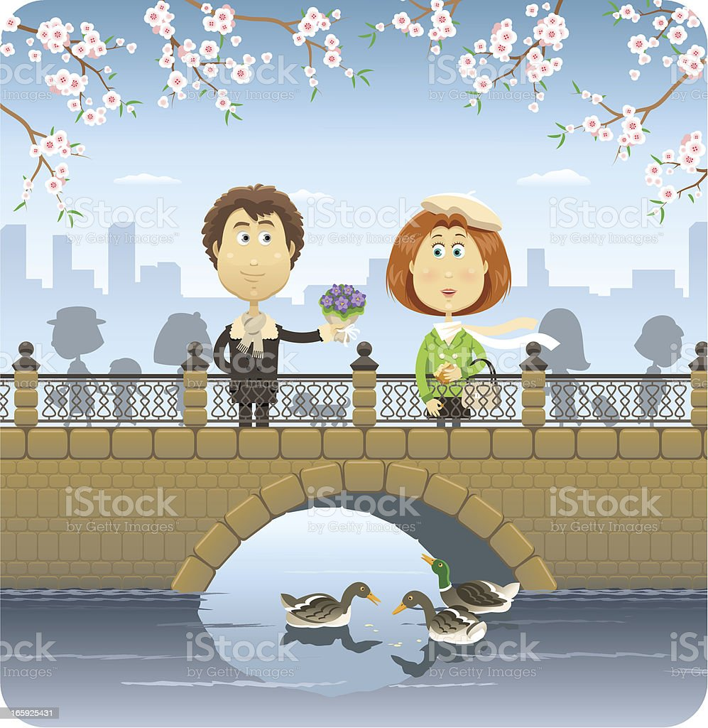 Happy couple on the bridge vector art illustration