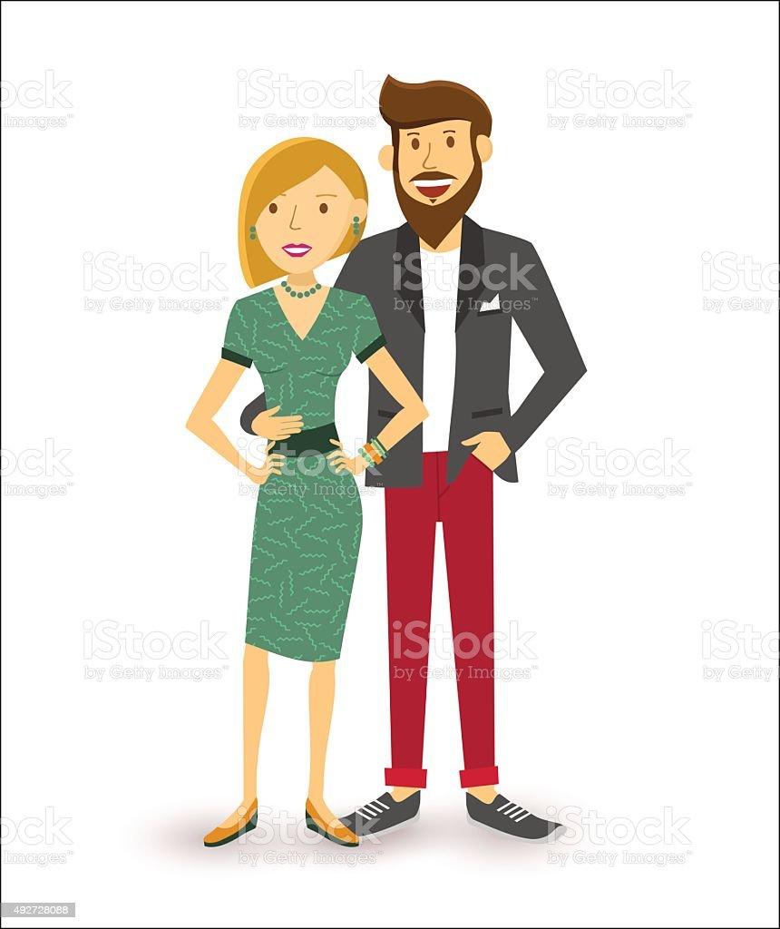 Happy couple people flat illustration vector art illustration
