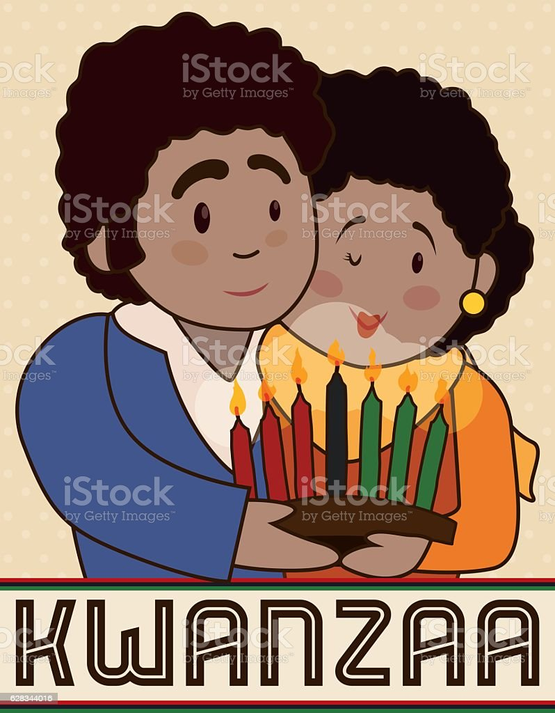 Happy Couple with a Candlelight Celebrating Kwanzaa vector art illustration