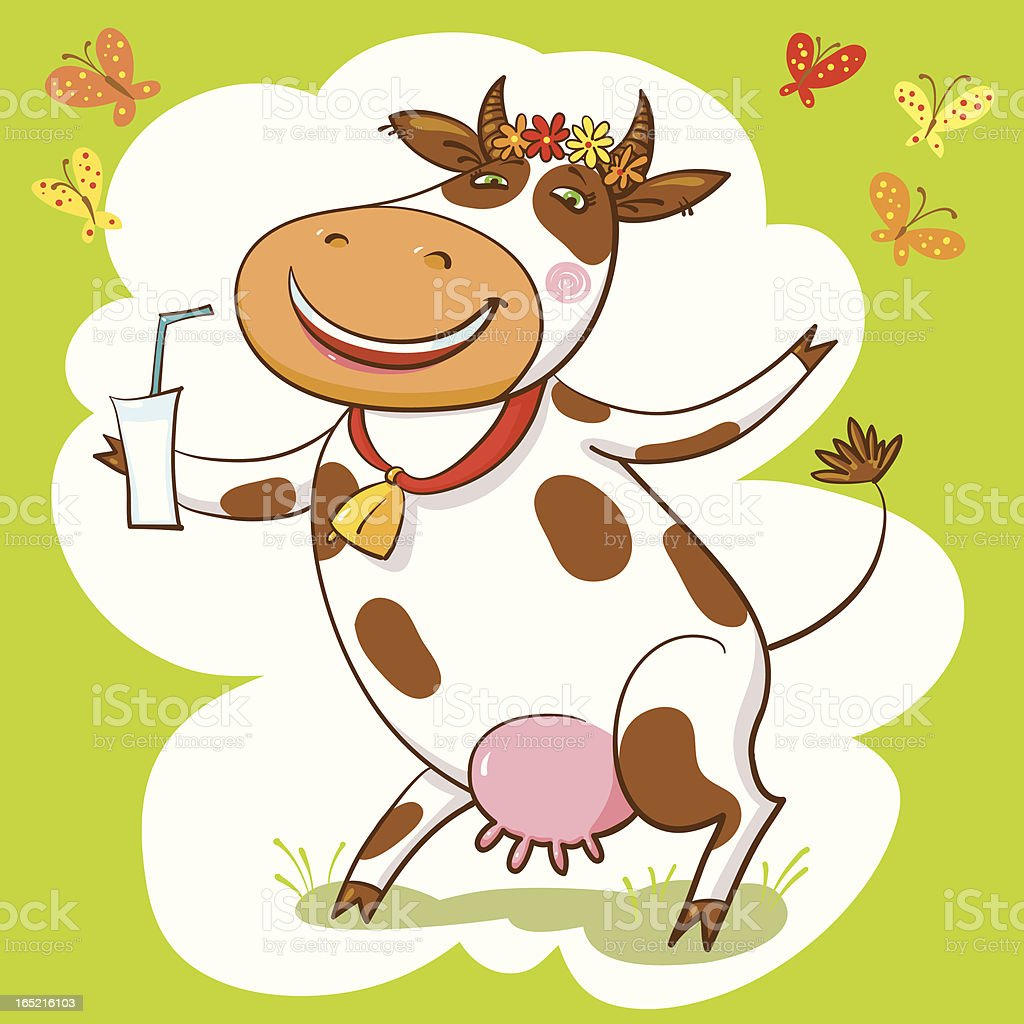 Happy Cow And Milk. royalty-free stock vector art