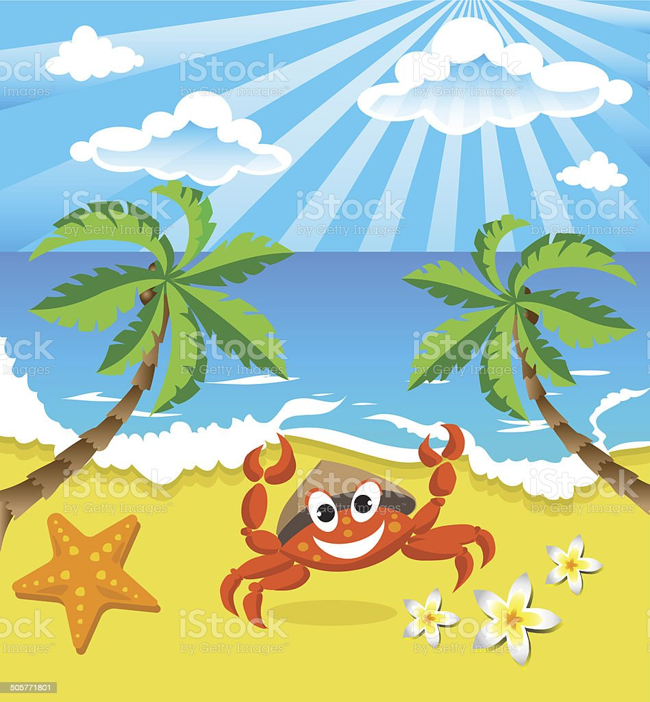 Happy crab in hat  on the southern island royalty-free stock vector art