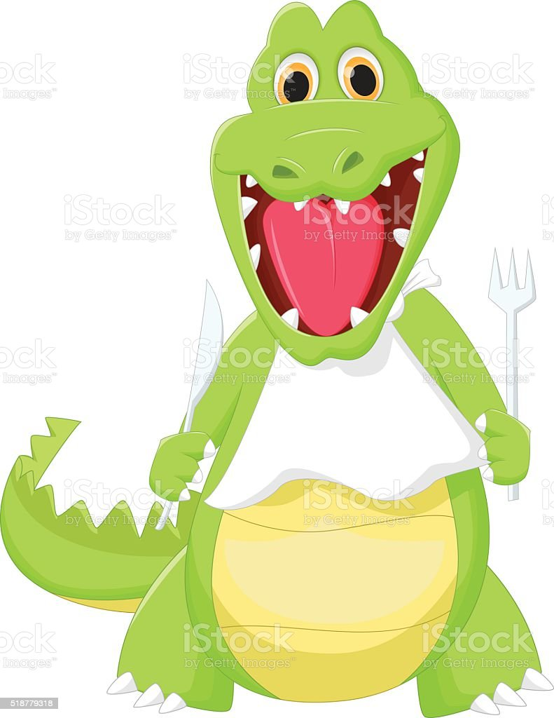happy crocodile preparing to eat vector art illustration
