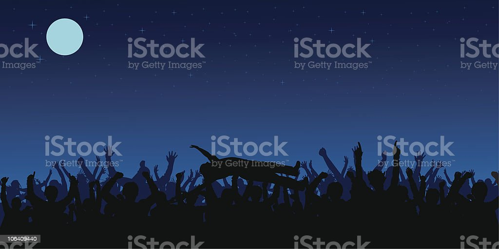 Happy Crowd vector art illustration
