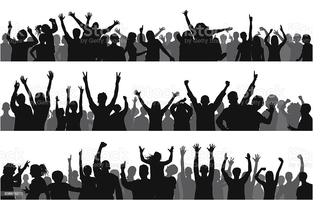 Happy Crowd (85 Complete People- Clipping Path Hides The Legs) vector art illustration