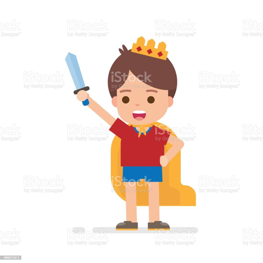 Happy cute boy dress up prince or king concept playing around being superhero vector art illustration