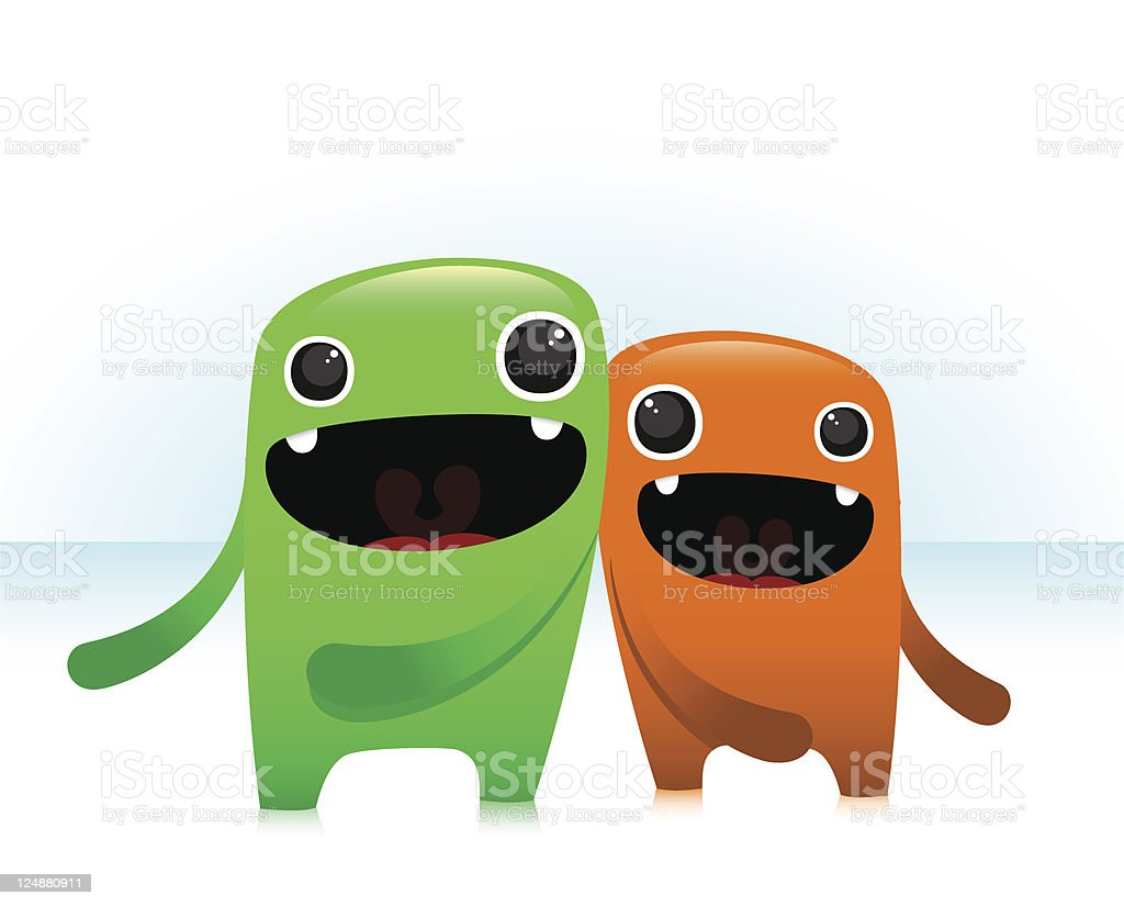 Happy Cute Characters Bumping Eachother royalty-free stock vector art