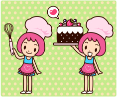 Happy cute girl carrying a sweet cake vector art illustration