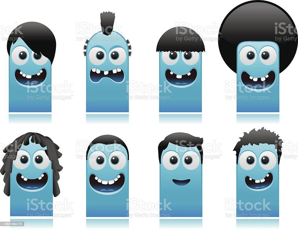 happy cute monsters boys hair styles royalty-free stock vector art