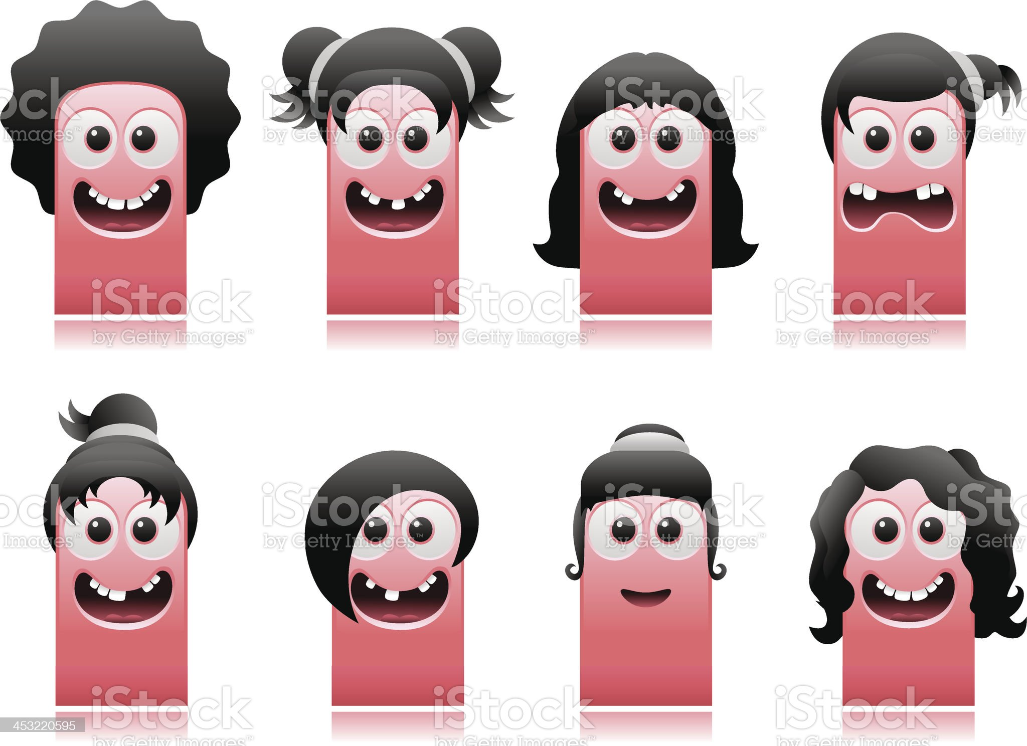 happy cute monsters girls hair styles royalty-free stock vector art