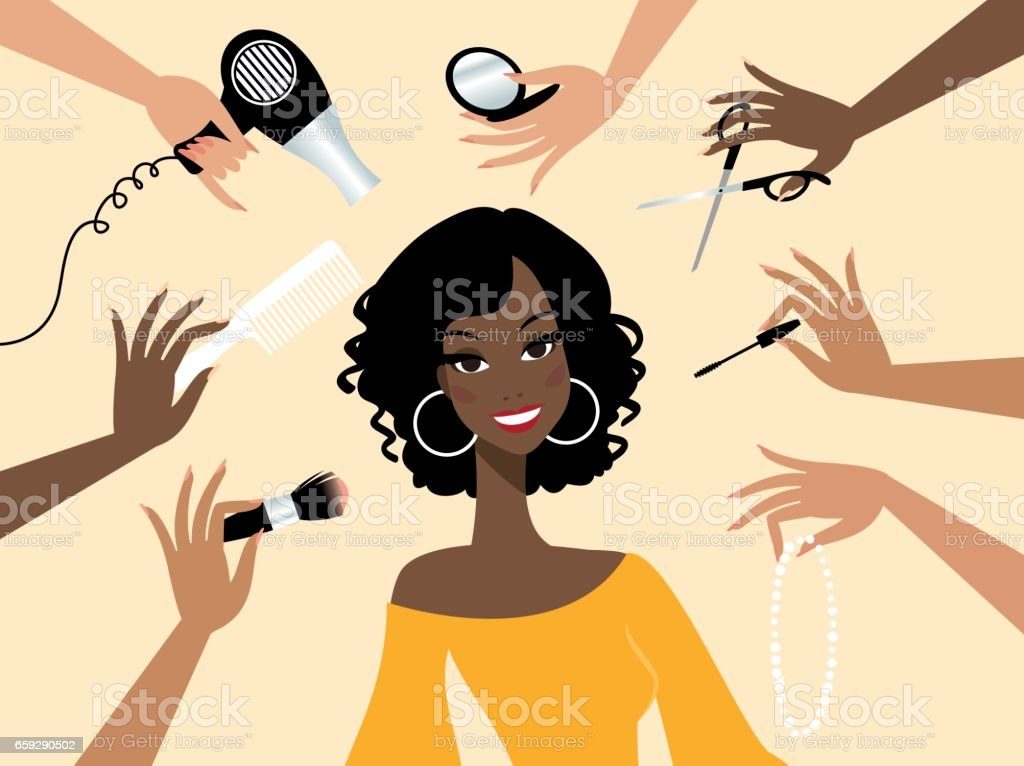 Happy dark skin woman in a beauty salon vector art illustration