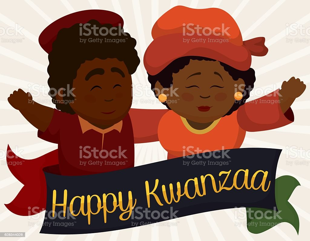 Happy Dark-skinned Couple Greeting Each Other for Kwanzaa vector art illustration