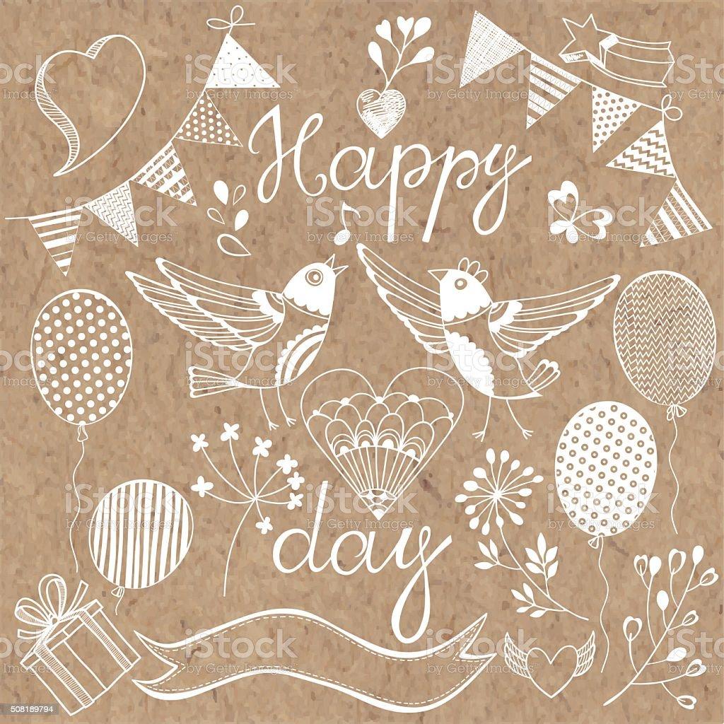 Happy day.Festive vector set. Isolated design elements. vector art illustration