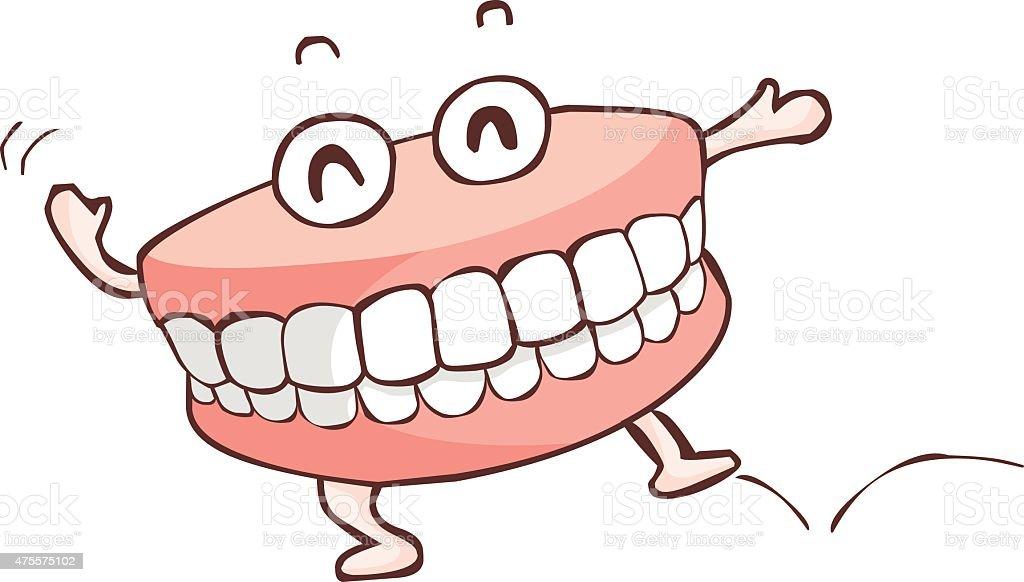 happy denture dancing show vector vector art illustration