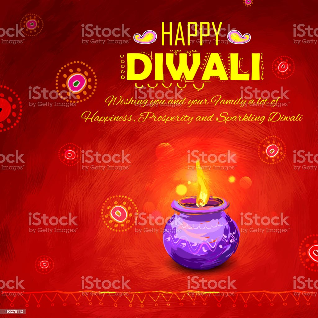 Happy Diwali background coloful watercolor diya vector art illustration