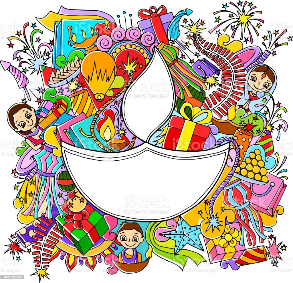 Happy Diwali doddle drawing vector art illustration