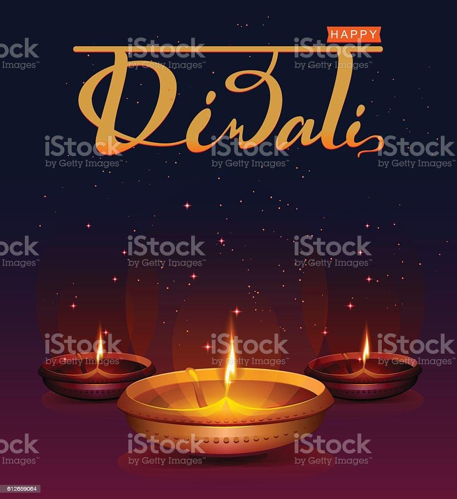 Happy Diwali festival of lights. Retro oil lamp vector art illustration