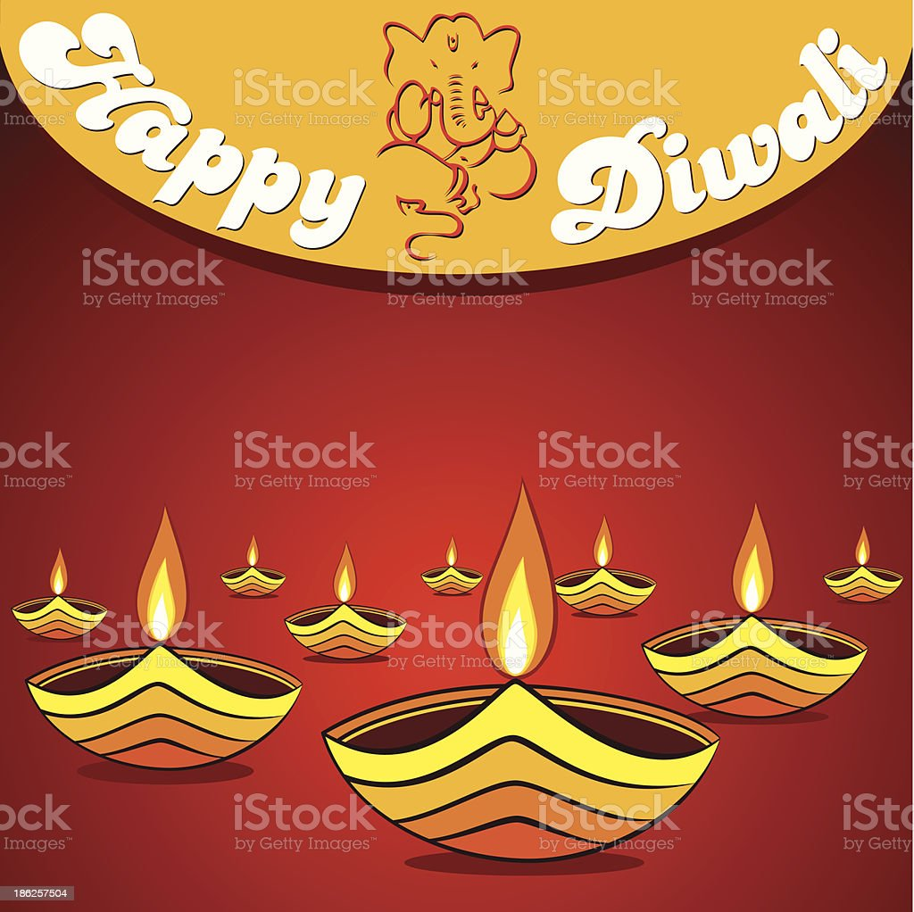happy diwali greeting vector art illustration