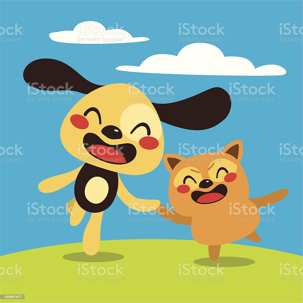 Happy Dog and Cat royalty-free stock vector art