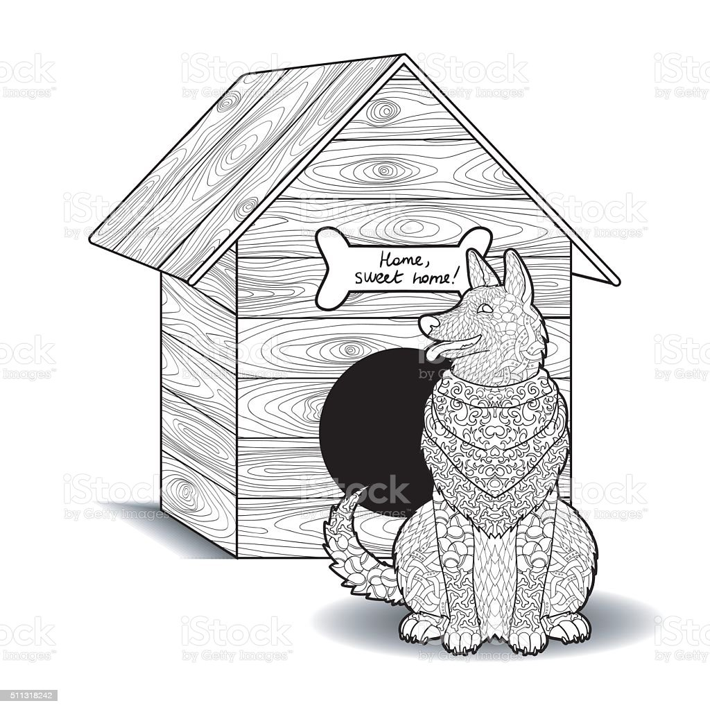 Happy dog sits in front of the doghouse. vector art illustration