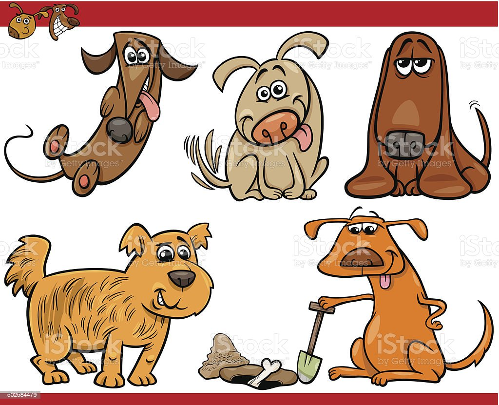 happy dogs cartoon illustration set vector art illustration