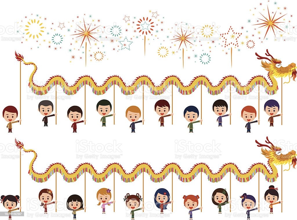 Happy Dragon Dance with firework royalty-free stock vector art