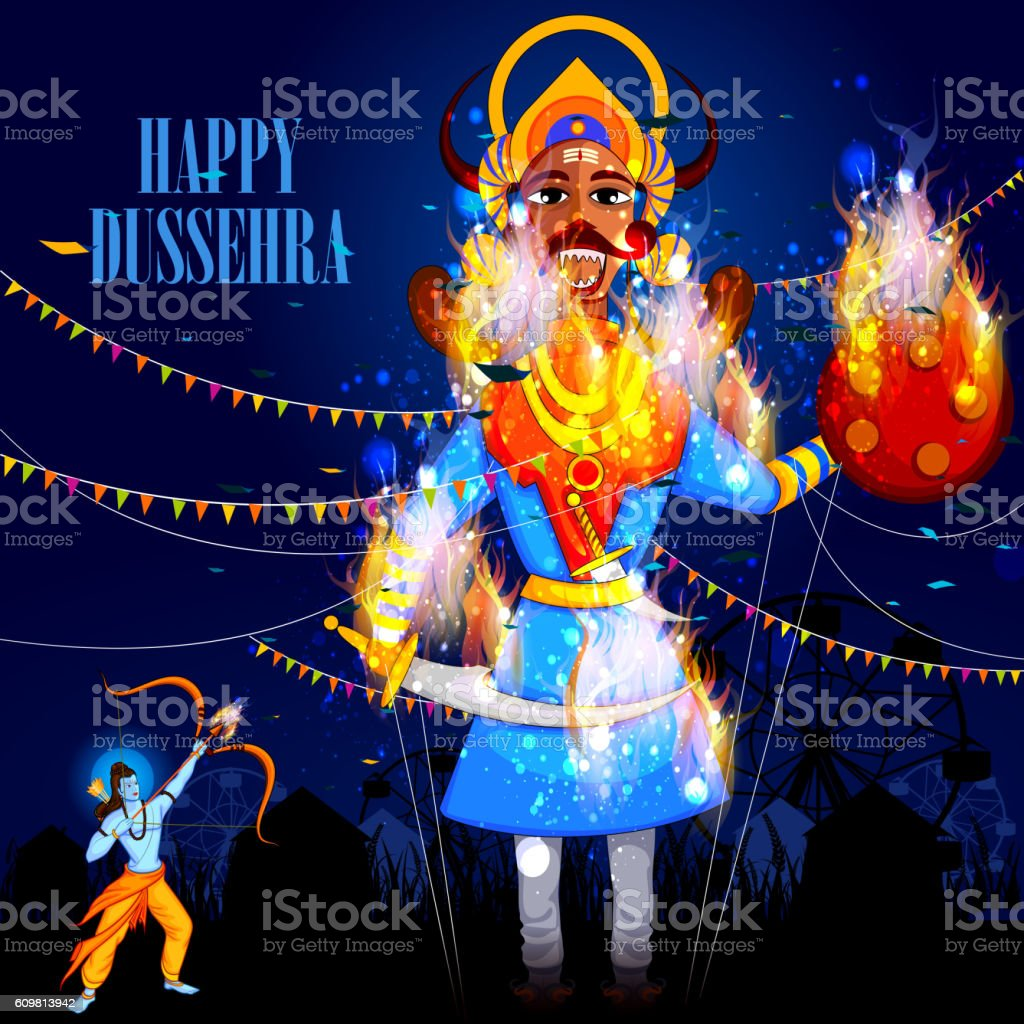 Happy Dussehra background showing festival of India vector art illustration