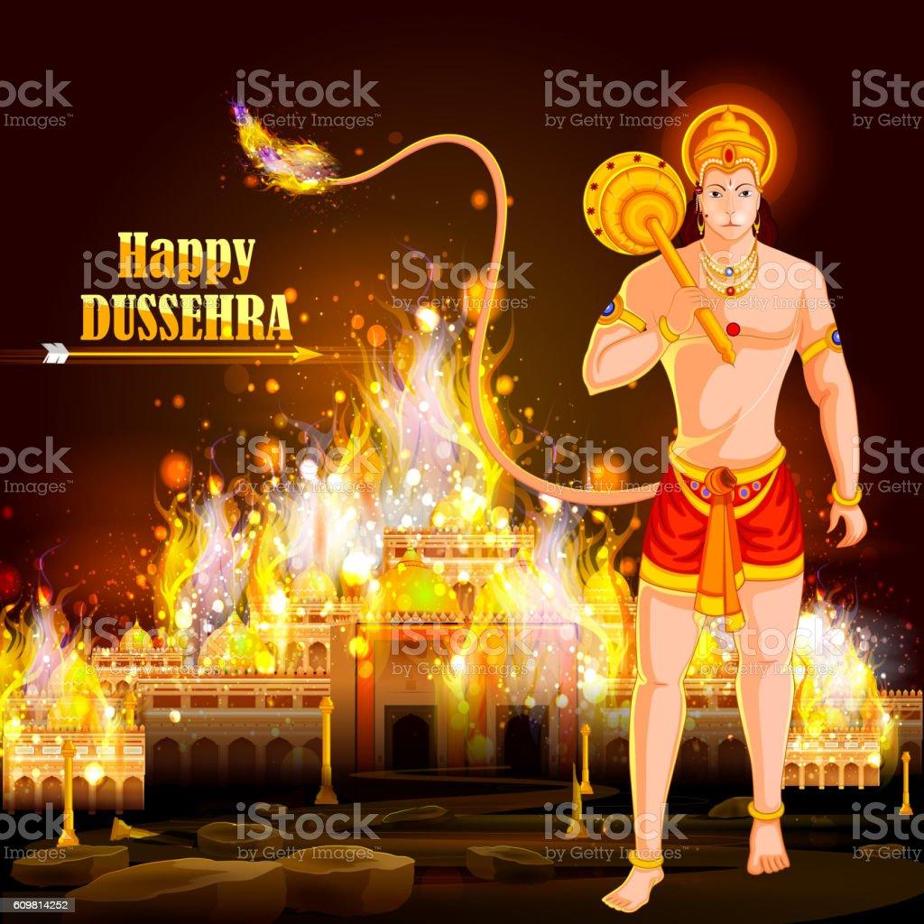 Happy Dussehra background showing festival of India vector art illustration