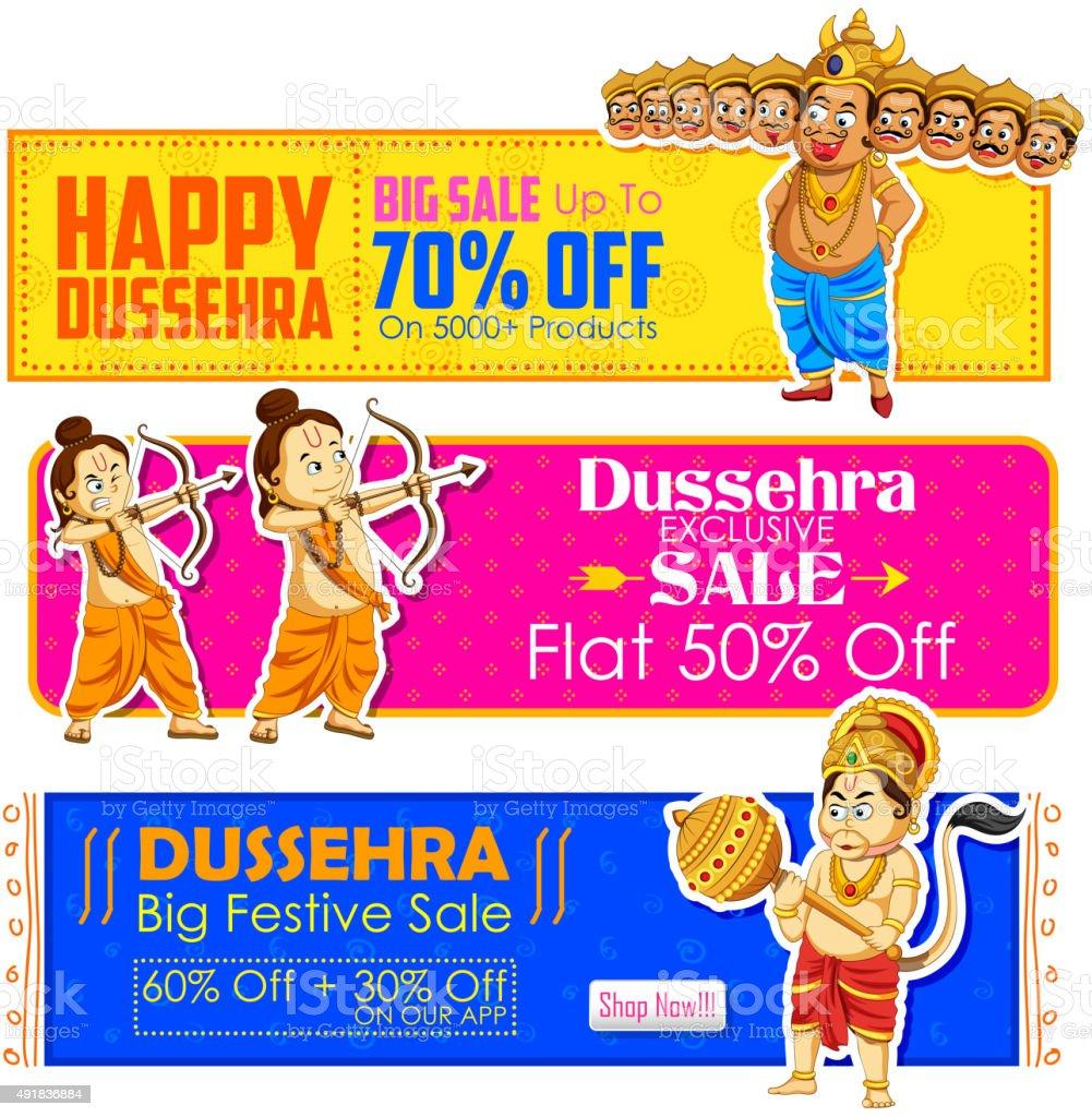 Happy Dussehra banner with Rama, Laxmana, Hanuman and Ravana vector art illustration