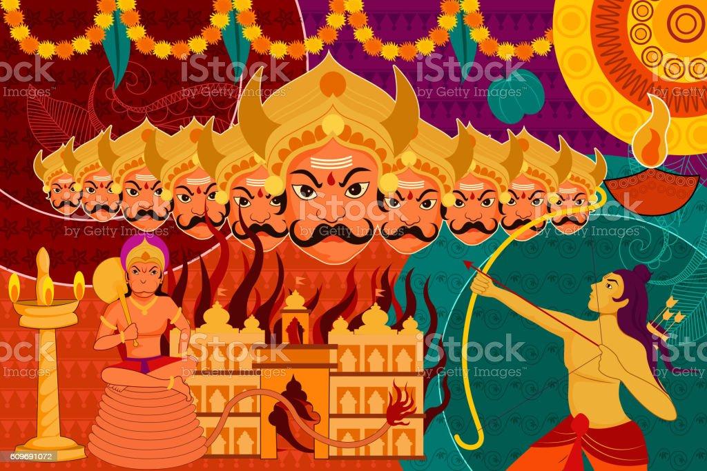 Happy Dussehra festival background forIndia holiday vector art illustration