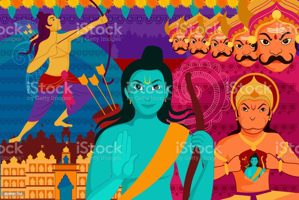 Happy Dussehra festival background forIndia holiday vector art illustration