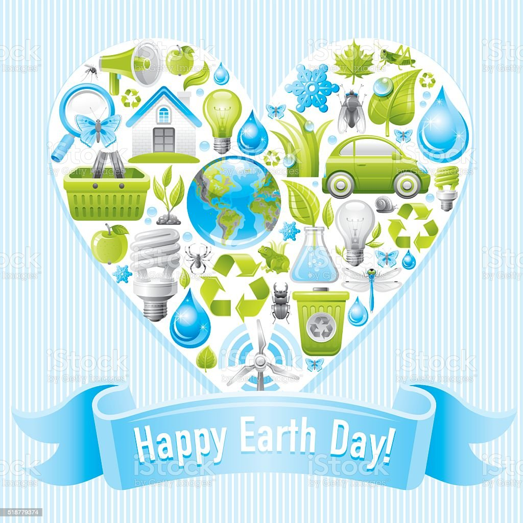 Happy Earth day poster with ecological heart on blue background vector art illustration